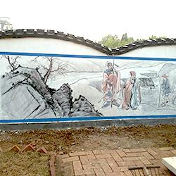胶州洋河新建墓地围墙二十四孝彩绘